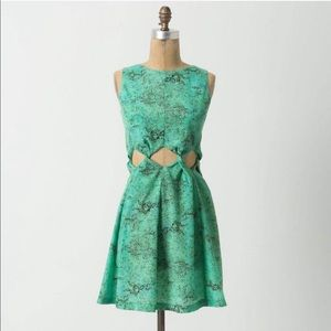 Anthropologie • Teal Watercolor Cutout Dress